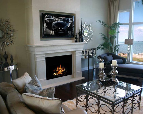 Dekko Concrete Decor - Fairmont, Lightweight Concrete Fireplace Mantel & Canopy - Fairmont mantel and custom canopy with TV shadowbox.   Handmade in North America by DEKKO Concrete.  Available for shipment worldwide.