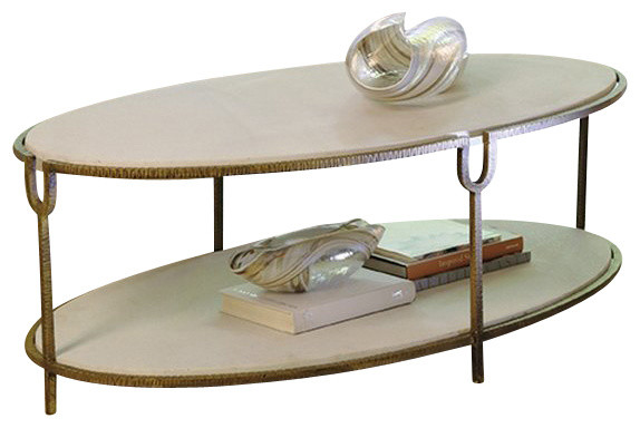 Global Views Iron And Stone Oval Coffee Table
