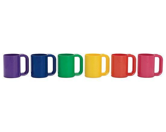 Heller Rainbow Mugs, Set of 6 | Designed by Massimo Vignelli for Heller® - Massimo Vignelli's iconic dinnerware won the prestigious Compasso d'Oro Award in 1964 and, in 1971, became the first product made by a company called Heller, now an international furniture manufacturer responsible for introducing the Bellini Chair®, Frank Gehry outdoor furniture and other icons of modern design. Heller Dinnerware was an instant classic, and because it's still made using the same molds, a set bought today will blend seamlessly with vintage pieces. Heller Rainbow Mugs (1974) are made of thick, durable BPA-free polymer. They can be used for hot and cold beverages and are dishwasher and microwave safe. This multicolored set includes purple, blue, green, pink, orange and yellow mugs. Made in U.S.A.
