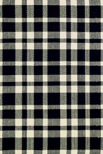 Tattersall Black/Ecru Woven Cotton Rug traditional-rugs