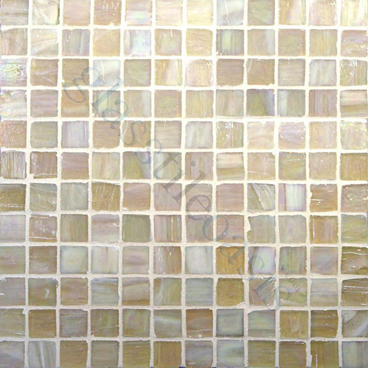"""Light Wood 1"""" x 1"""" Cream/Beige Pool Glossy and Iridescent Glass contemporary-tile"""