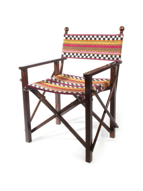 Sunset Director's Chair | MacKenzie-Childs - Make any day feel a little bit more like a lazy summer day at the farmhouse. Our lounge-ready director's chair is ready for some serious relaxation. Collapsible Indian rosewood frame, outfitted in alluring woven Sunset. Don't be surprised if it makes your yard the most popular room in the house! For use in protected areas only.