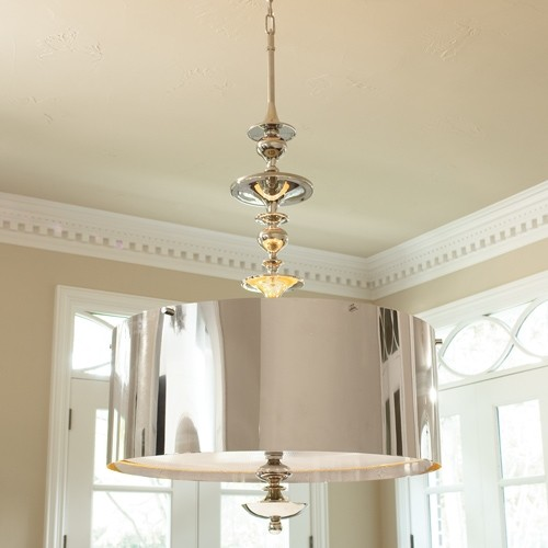 Nickel Deco Drum Pendant contemporary pendant lighting
