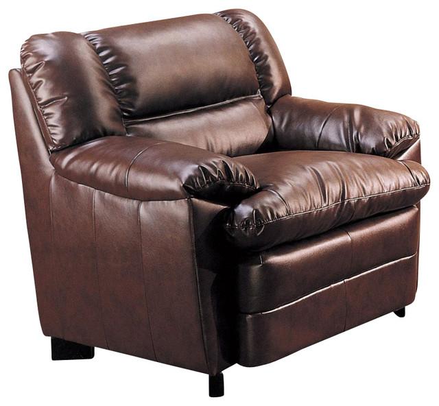 Coaster Harper Overstuffed Leather Club Chair In Rich
