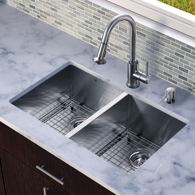 Double Sinks For Kitchen : ... Double Bowl Kitchen Sink Set - Modern - Kitchen Sinks - new york - by