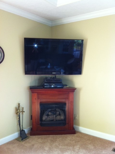corner gas fireplace entertainment center needs help