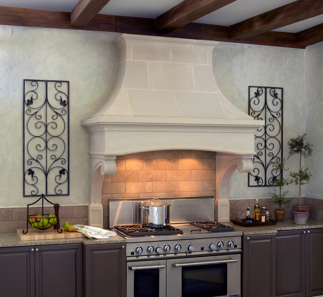 Bentwood cast stone range hood transitional kitchen for Bentwood kitchen cabinets
