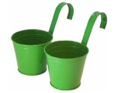 Master Craft Hanging Basket Bucket Planters contemporary-outdoor-pots-and-planters