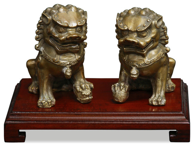 Hand Forged Bronze Foo Dogs asian-sculptures