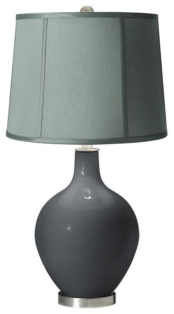 Contemporary Black of Night Spa Blue Shade Ovo Table Lamp contemporary-table-lamps