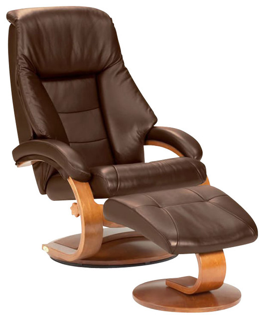 mac motion walnut swivel recliner chair and ottoman in