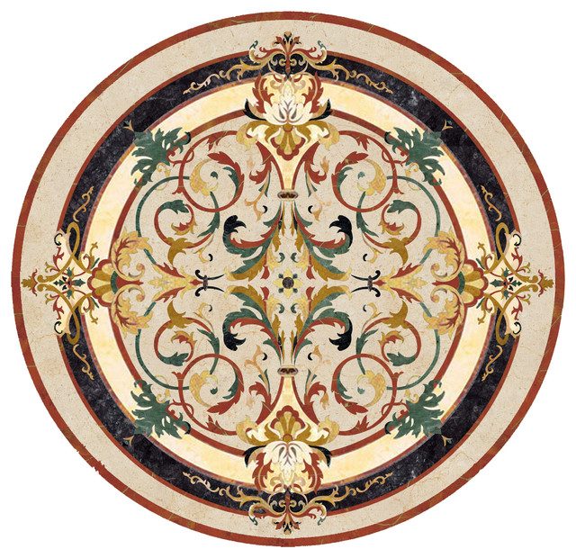 Waterjet Marble Medallion Lucerne Traditional Wall And Floor Tile