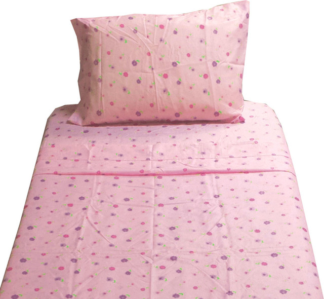 Dotted Flowers Twin Sheet Set Pink Floral Bedding contemporary-kids-bedding