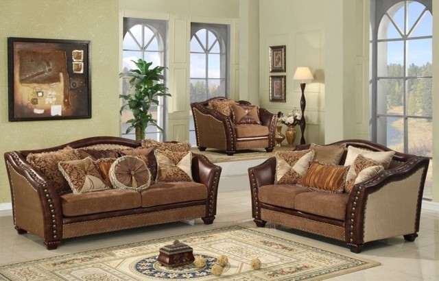 3 Piece Living Room Sofa Set: 3 Piece Warm Brown Corner Sofa