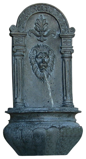 Leo Outdoor Wall Fountain, Lead traditional-outdoor-fountains-and-ponds