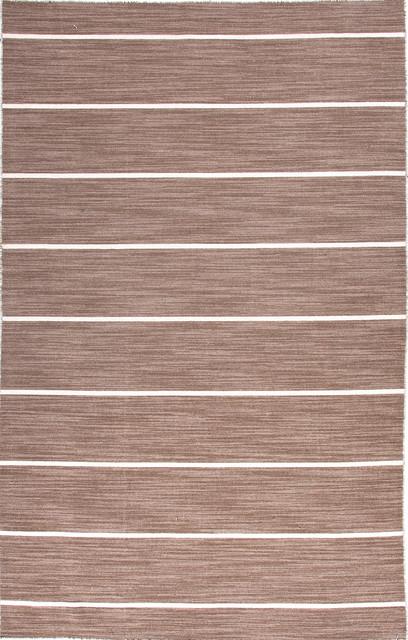 Flat Weave Stripe Pattern Beige /Brown Wool Handmade Rug - CC11, 10x14 traditional-rugs