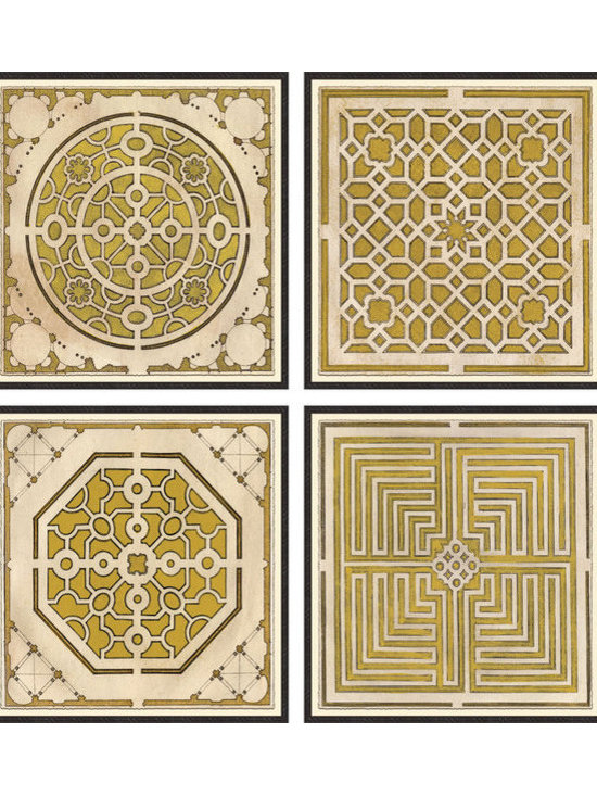 Soicher-Marin - Large Garden Plans, Set of 4, Yellow - Giclee Print with a Black Ornate wooden frame with decorative line pattern floated on an off white mat.  Set of four prints. Each individual print is 36.75 inches square.  Includes glass, eyes and wire. Made in the USA. Wipe down with damp cloth