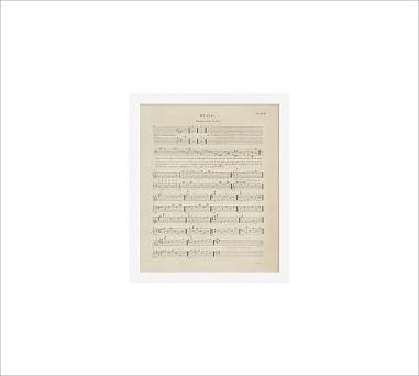 "Framed Vintage Print, Music Sheet Thorough P1 III, No Mat, 11 x 13"", White traditional-artwork"