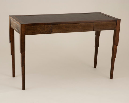 Nathan Desk - Art | Harrison Collection - Art Deco inspired desk with Inset Leather Top and Center Drawer.