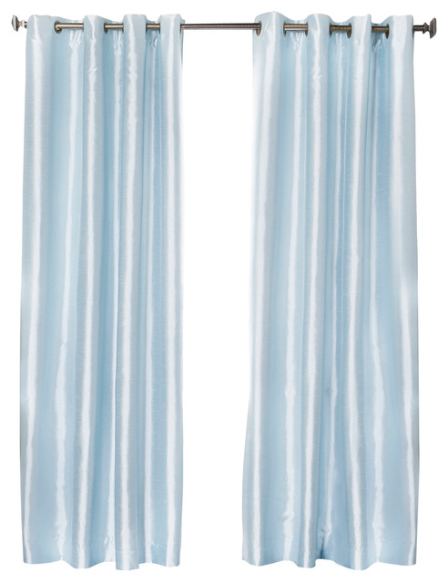 Dupioni faux silk grommet top blackout curtain 1 pair for Sky blue curtains for bedroom
