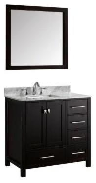 Virtu USA Caroline Avenue 36 in. Single Square Sink Bathroom Vanity in Espresso contemporary-bathroom-vanities-and-sink-consoles