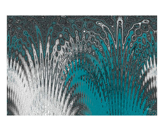 Water And Ice - Blue Splash, by Ben and Raisa Gertsberg - canvas art, art print - Nature inspired contemporary abstract art, in cool shades of turquoise, teal blue, grey and white, with textured rippling patterns, lines and irregular shapes of flowing water that breakes through ice - this decorative abstraction will create dynamic and intricate feather like splash of color on your wall.