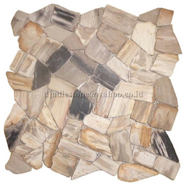 Mozaik Interlock Petrified Wood Tile contemporary-mosaic-tile