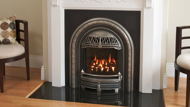 Victorian Inspired Coal Basket Styled High Efficiency Gas Fireplace Insert Transitional