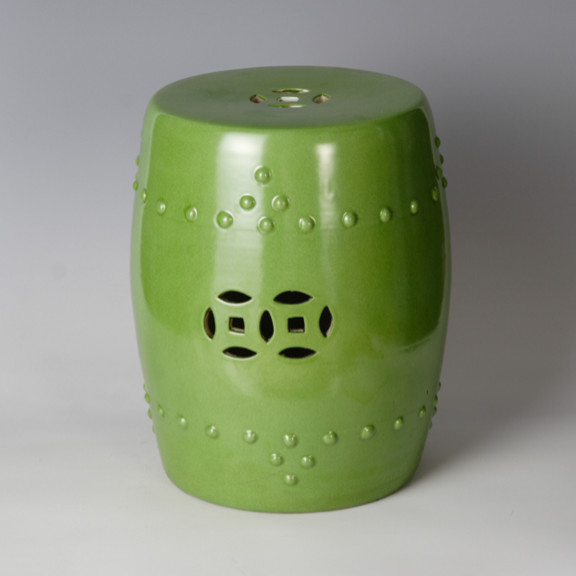 Ceramic Stool, Green asian ottomans and cubes