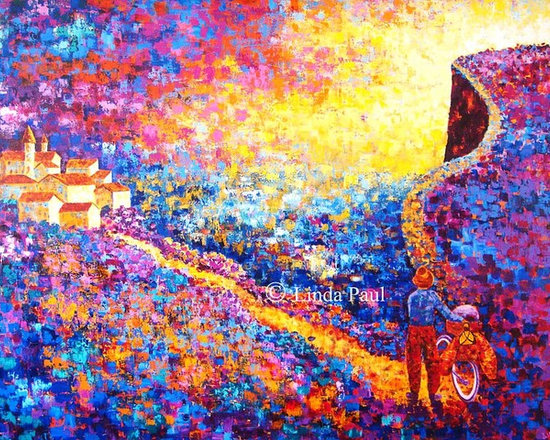 The Road Less Traveled Large Colorful Art Painting - Contemporary painter and artist Linda Paul presents The Road less Travelled Original acrylic Painting.