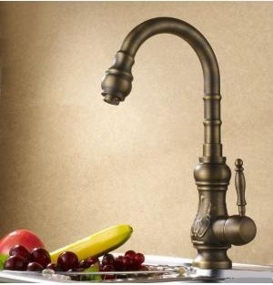 Luxury Single Handle Sculpture antique Brass Kitchen Faucet - Contemporary - Kitchen Faucets ...