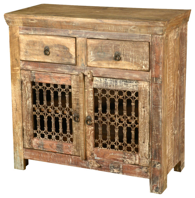 Retro rustic reclaimed wood iron grill storage buffet