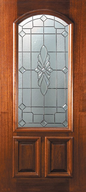 Slab single door 80 wood mahogany versailles 2 panel arch for Single front doors with glass