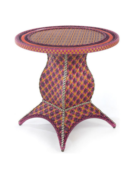 Sunset Outdoor Cafe Table | MacKenzie-Childs - Bring the view from Aurora to your own backyard. The colors of our Sunset Outdoor Collection capture summer's early-evening skies over Cayuga Lake: a glorious blaze of golds, oranges, purples, and blues, with flashes of magenta, all interwoven with a terra cotta tone that recalls our very foundation in ceramics. Hand-woven resin wicker is as durable and comfortable as it is striking.