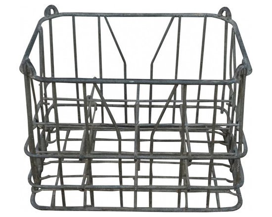 NY dairy galvanized wire crate - Vintage galvanized wire milk crate from Plattsburgh Dairy in NY, circa 1930's