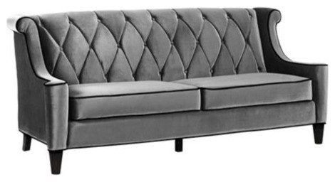 Barrister Gray Velvet Sofa transitional-sofas