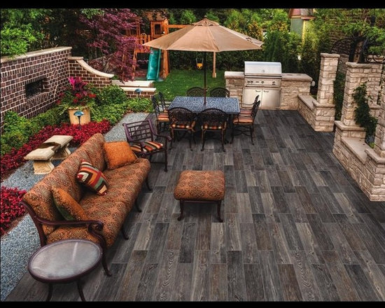 Outdoor kitchen with porcelain tile wood plank - Porcelain plank tile wood looking, Bring the beauty of wood flooring outside