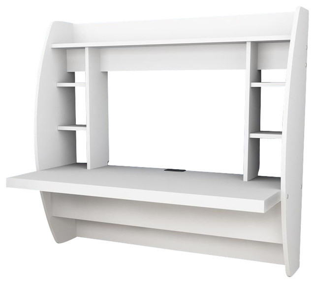 prepac floating desk with storage in white transitional