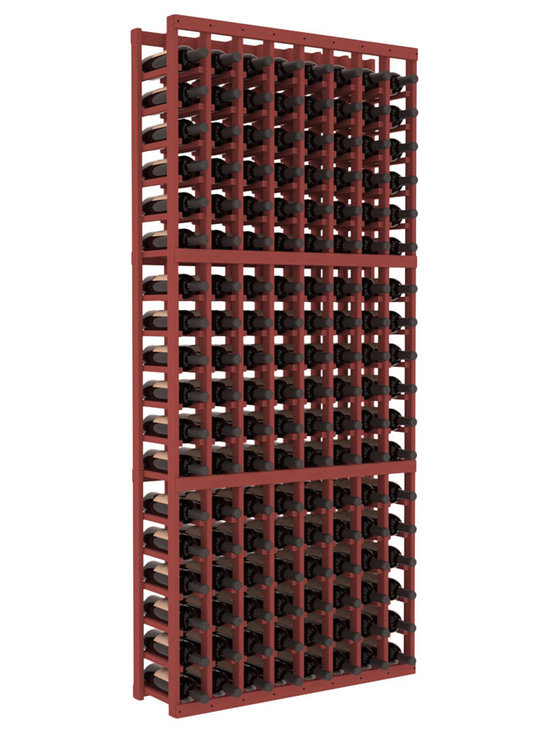 Wine Racks America - 8 Column Standard Wine Cellar Kit in Pine, Cherry Stain - Wooden wine storage available in pine or redwood Plus many stain and finish options. The best rack for an intermediate collector. This rack stores up to 12 cases of wine in 18 bottle columns. You'll love it. We guarantee it.