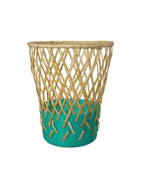 Cordula Kehrer Dark Green Bow Bin - This whimsical Bow Bin waste basket by Cordula Kehrer is a study in contradiction. The Bin is produced by the indigenous Aeta people of the Philippines via fair trade NGO.