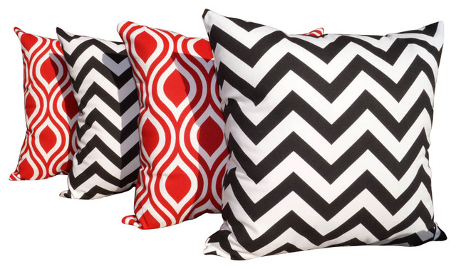 Red And White Decorative Pillows : Chevron Black And Nicole Rojo Red And White Outdoor Throw Pillows, Set of 4 - Contemporary ...
