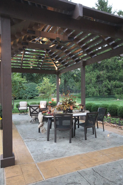 Louvered Roof Pergola and Pool traditional-patio