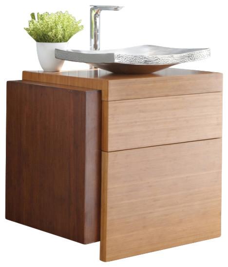 Single sink bamboo bath vanity modern bathroom for Modern bamboo bathroom vanity