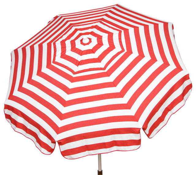 Italian 6 ft Umbrella Acrylic Stripes Red and White