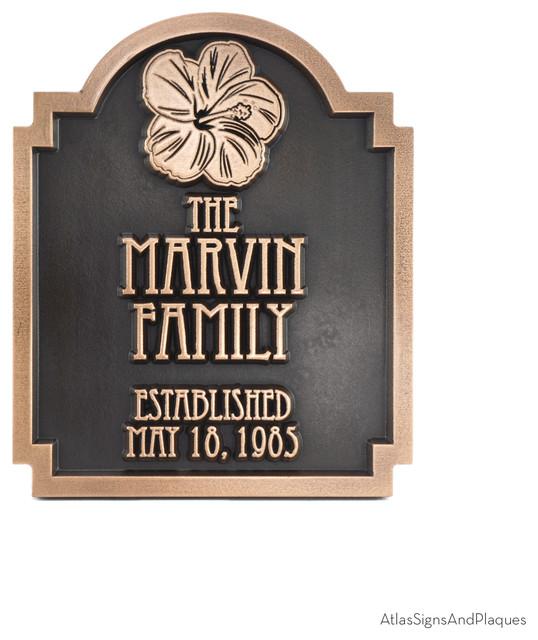 Hawaiian Hibiscus Historic Plaque 10 X 12 In Bronze Patina Tropical House Numbers