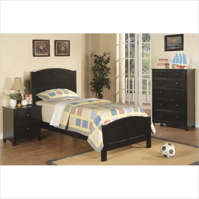 Poundex 3 Piece Kids Twin Size Bedroom Set In Rich Black Finish Contemporar