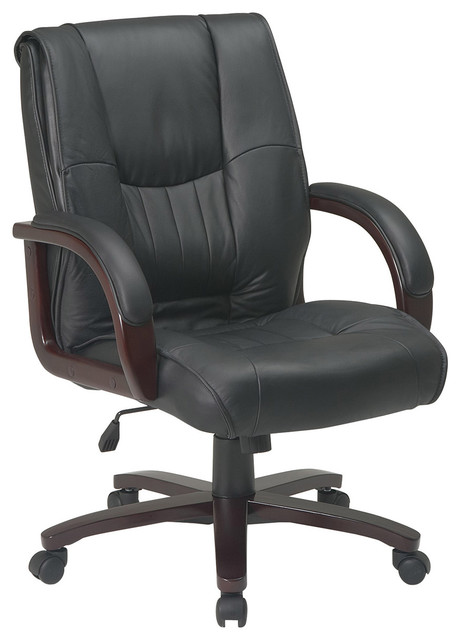 Mid Back Leather Office Chair With Wood Base And Padded Arms Modern Offic