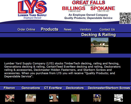 """Lumber Yard Supply Co. Stocked Products - Lumber Yard Supply Company (LYS) stocks TimberTech decking, railing and fencing, Genovations decking & railing, CertainTeed EverNew decking and railing, Deckorators railing & accessories, Deckmaster Hidden Fasterners, and Starborn Screws and accessories. When you purchase from LYS you will receive """"Quality Products; and Dependable Service""""."""