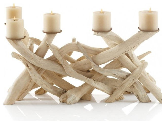 Driftwood Candelabra Tropical Candleholders By VivaTerra