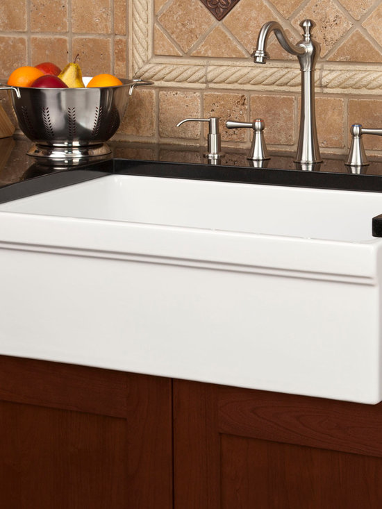 Fresh Farmhouse Sinks - Damali Single Bowl Italian Fireclay Farmhouse Sink, Signature Hardware